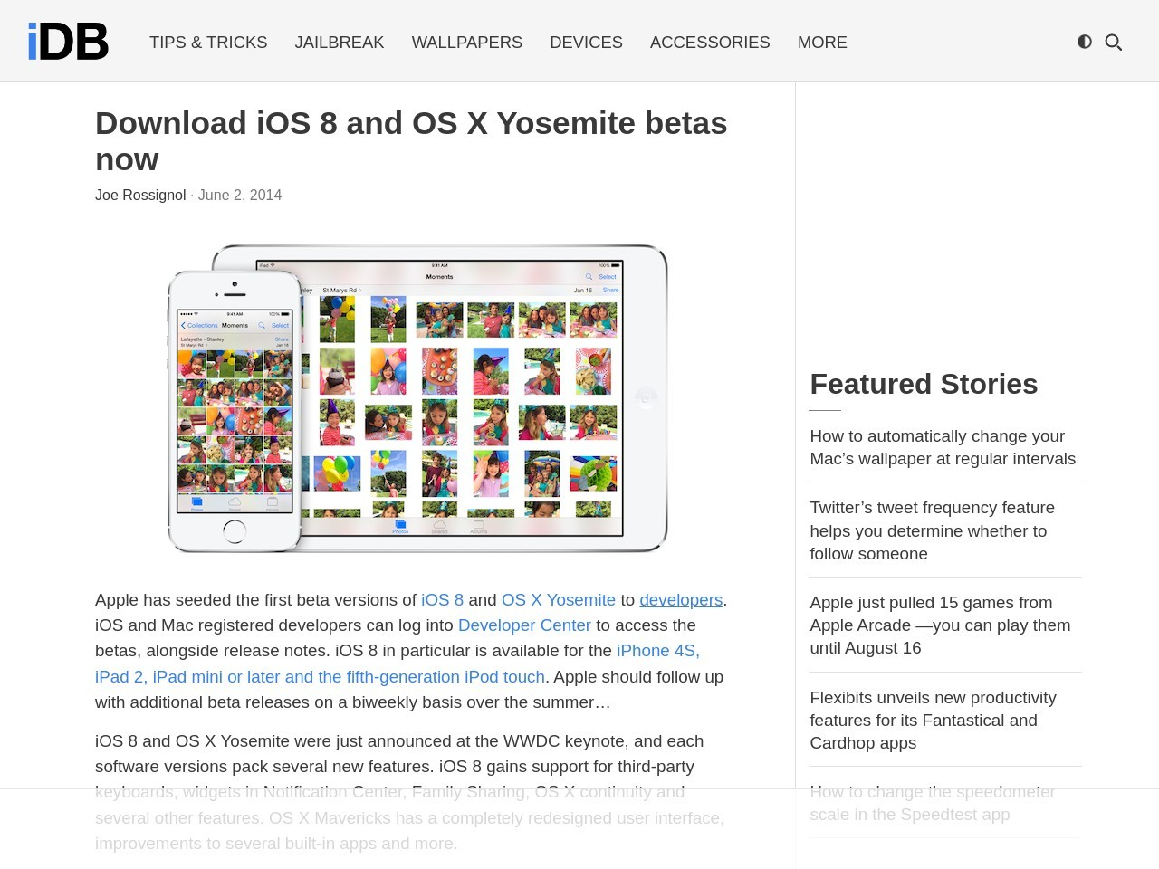Download iOS 8 and OS X Yosemite betas now