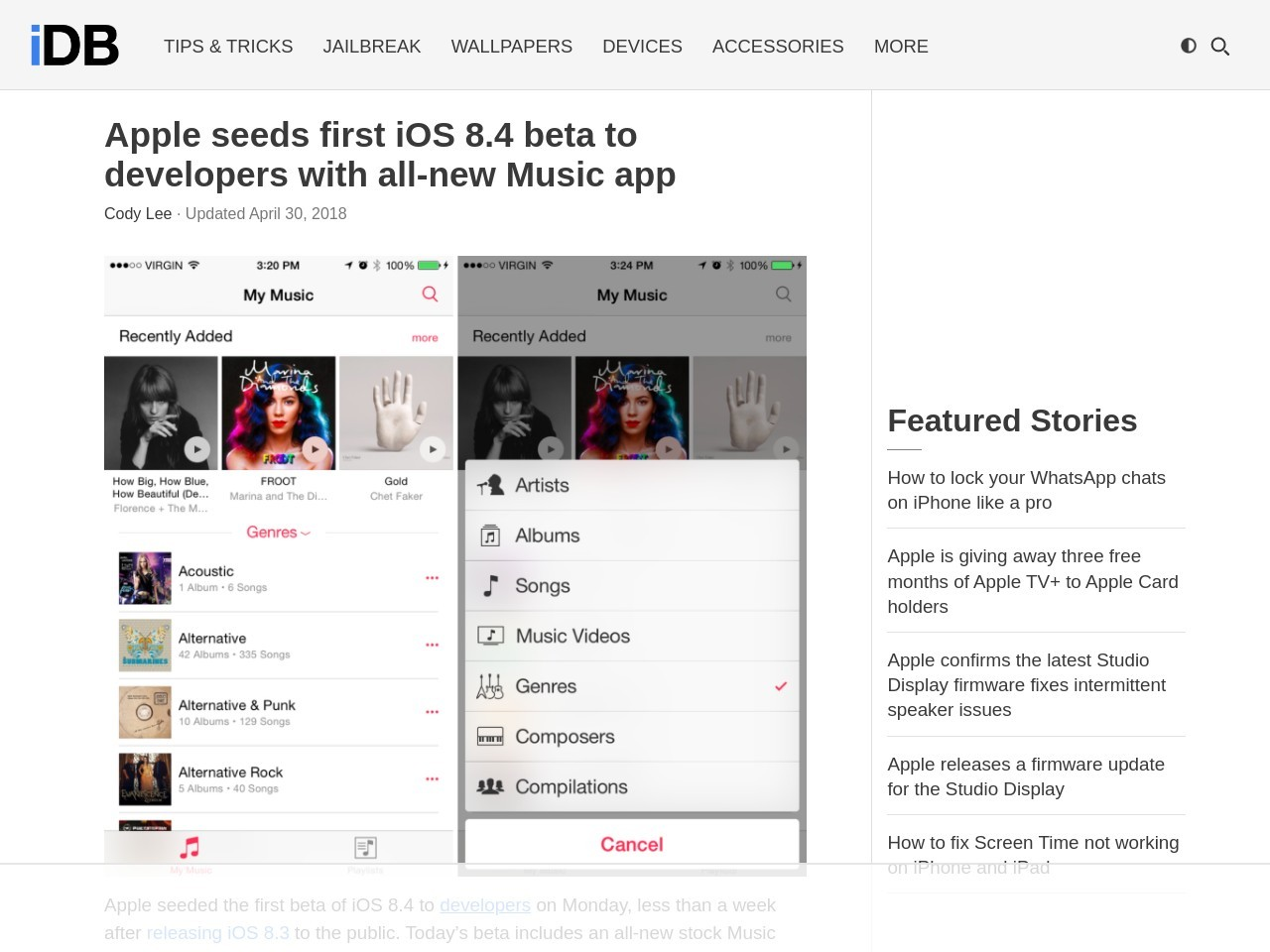 Apple seeds first iOS 8.4 beta to developers with all-new …