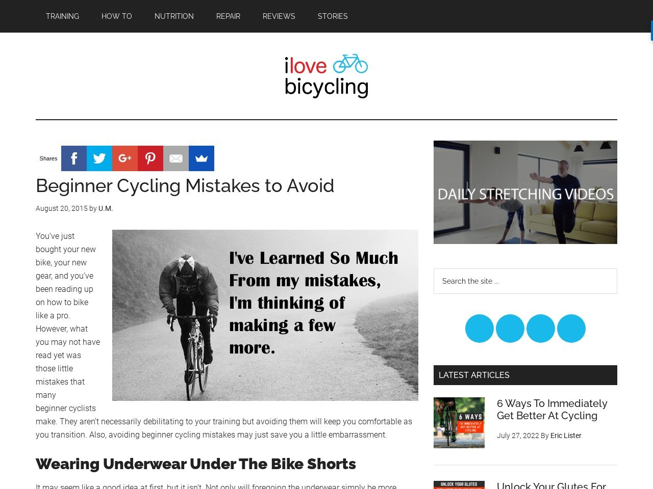 Beginner Cycling Mistakes to Avoid – I Love Bicycling