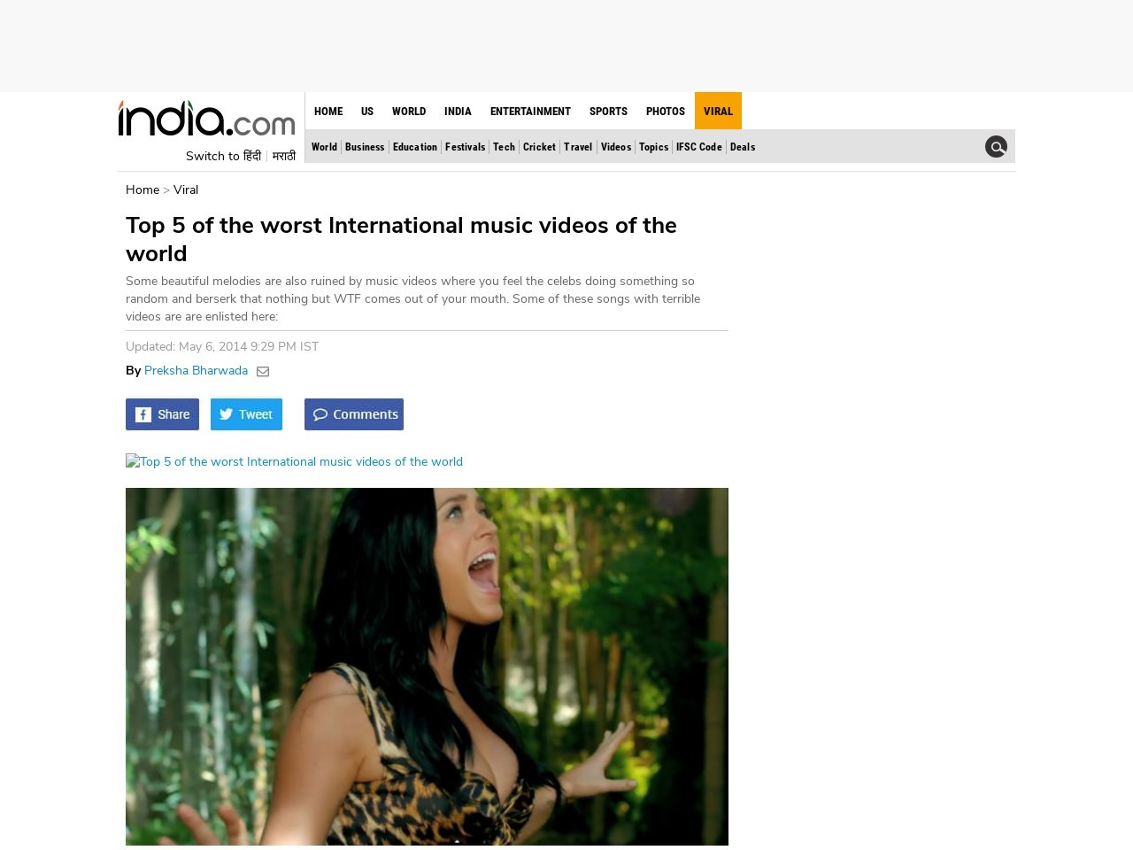 Top 5 of the worst International music videos of the world …