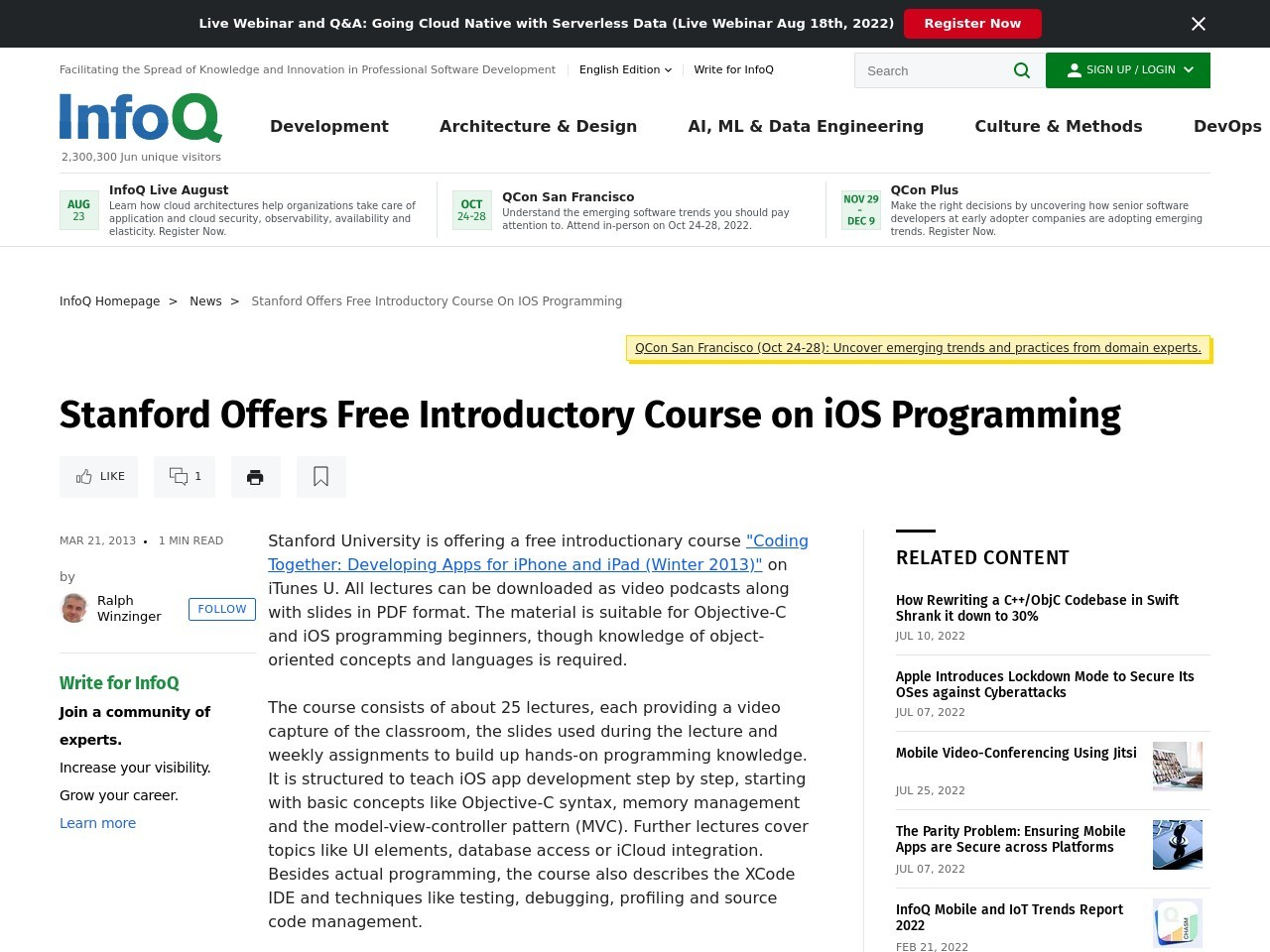 Stanford Offers Free Introductory Course on iOS Programming