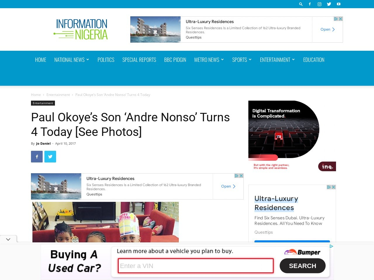 Paul Okoye's Son 'Andre Nonso' Turns 4 Today [See Photos]