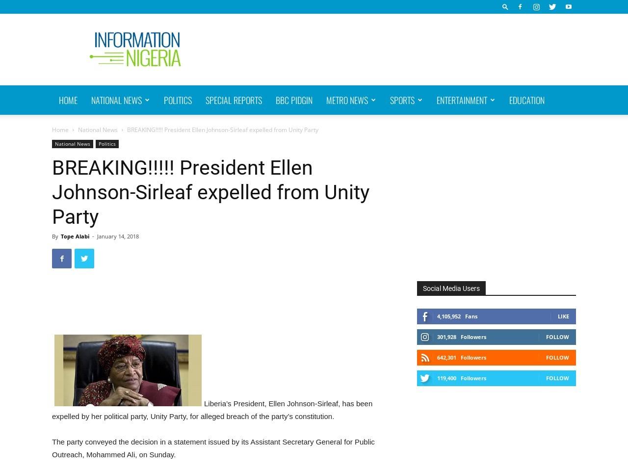 BREAKING!!!!! President Ellen Johnson-Sirleaf expelled from Unity Party