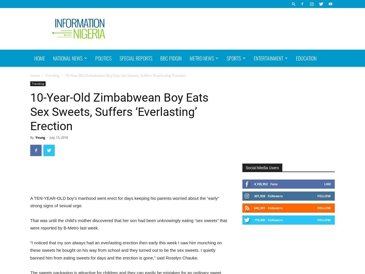 10-Year-Old Zimbabwean Boy Eats Sex Sweets, Suffers 'Everlasting' Erection