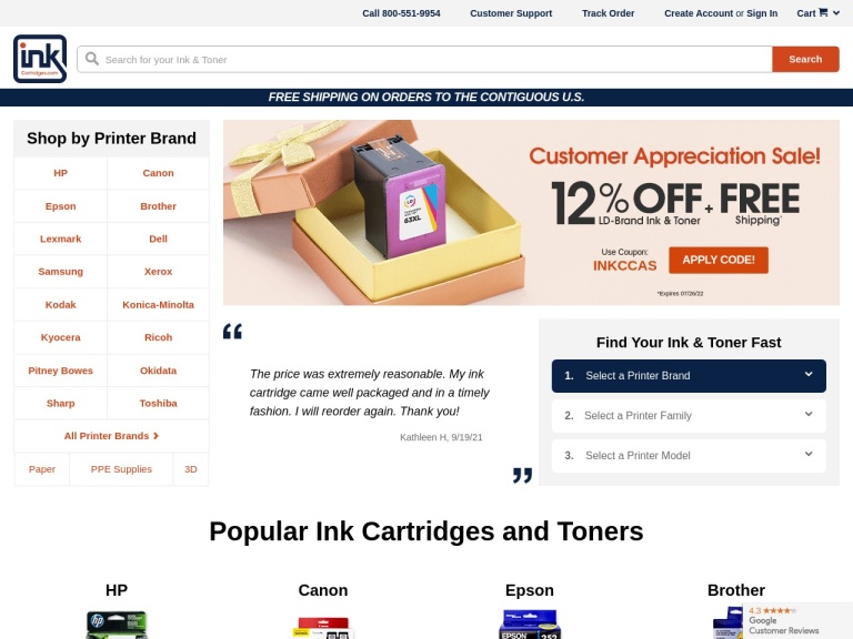 Inkcartridges.com screenshot