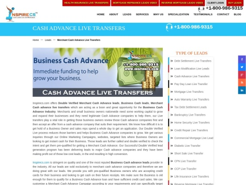 Merchant Cash Advance Live Transfers, Business Cash Advance Leads