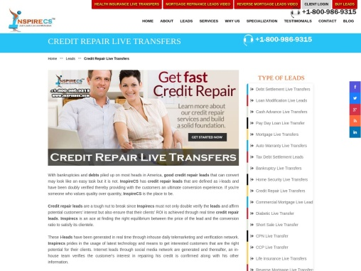 Credit Repair Leads, Credit Repair Live Transfers