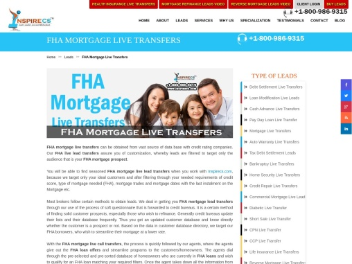 FHA Mortgage Live Transfers, FHA Mortgage Leads, FHA loan offers