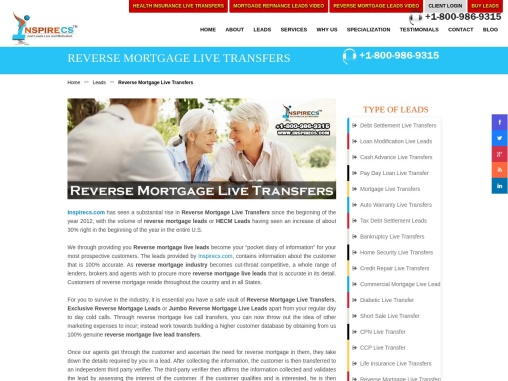 Jumbo Reverse Mortgage Live Leads, Reverse Mortgage Live Transfers, Exclusive Reverse Mortgage Leads