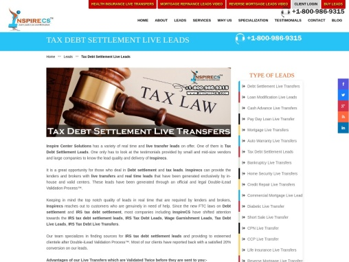 Tax Debt Settlement Leads, IRS Tax Debt Settlement Transfers