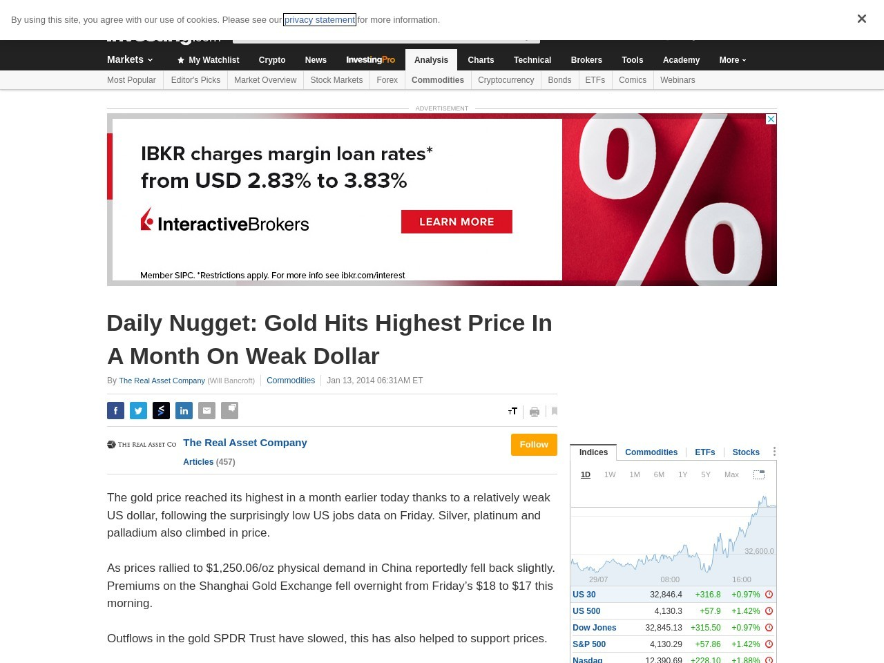 Daily Nugget: Gold Hits Highest Price In A Month On Weak Dollar