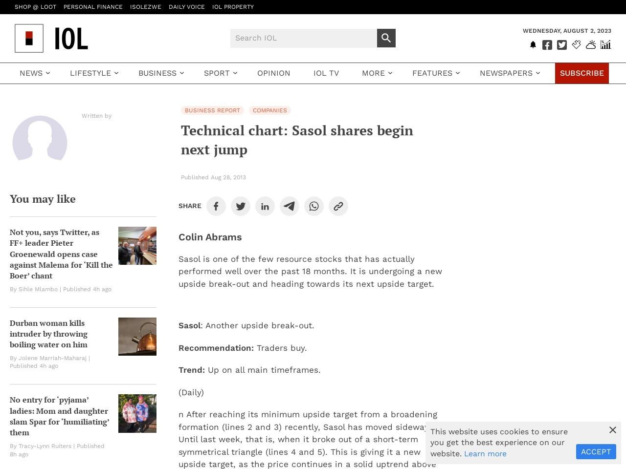 Technical chart: Sasol shares begin next jump