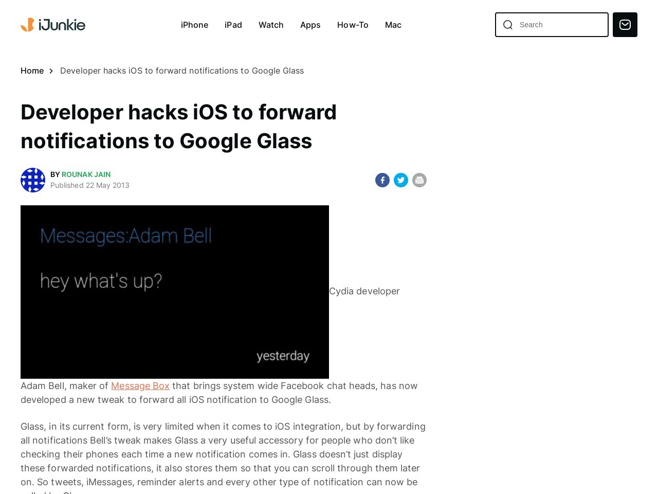 Developer tweaks iOS to forward notifications to Google Glass