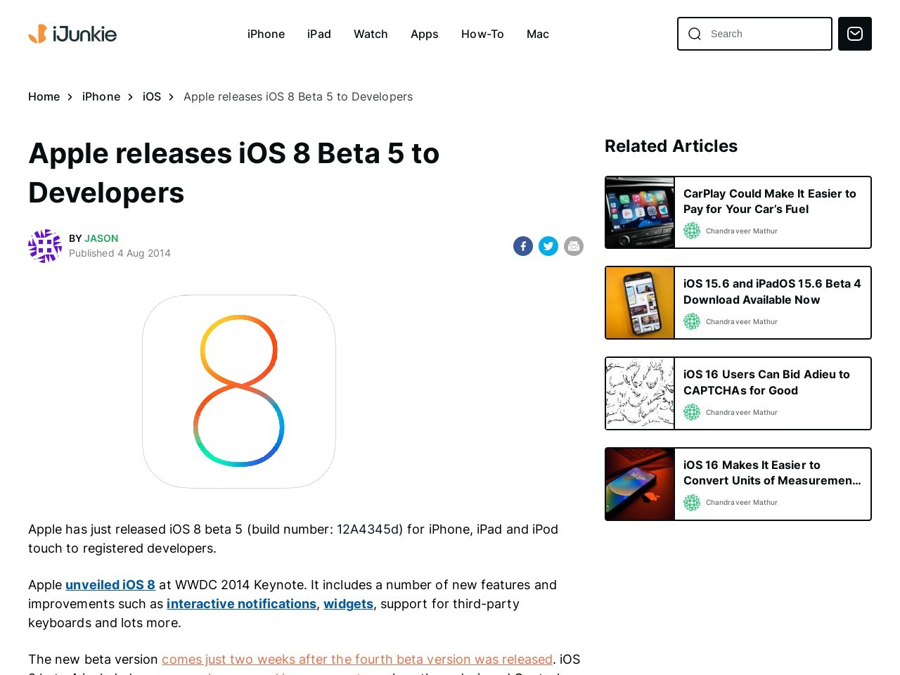 iOS 8 beta 5 Download for iPhone, iPad, iPod touch