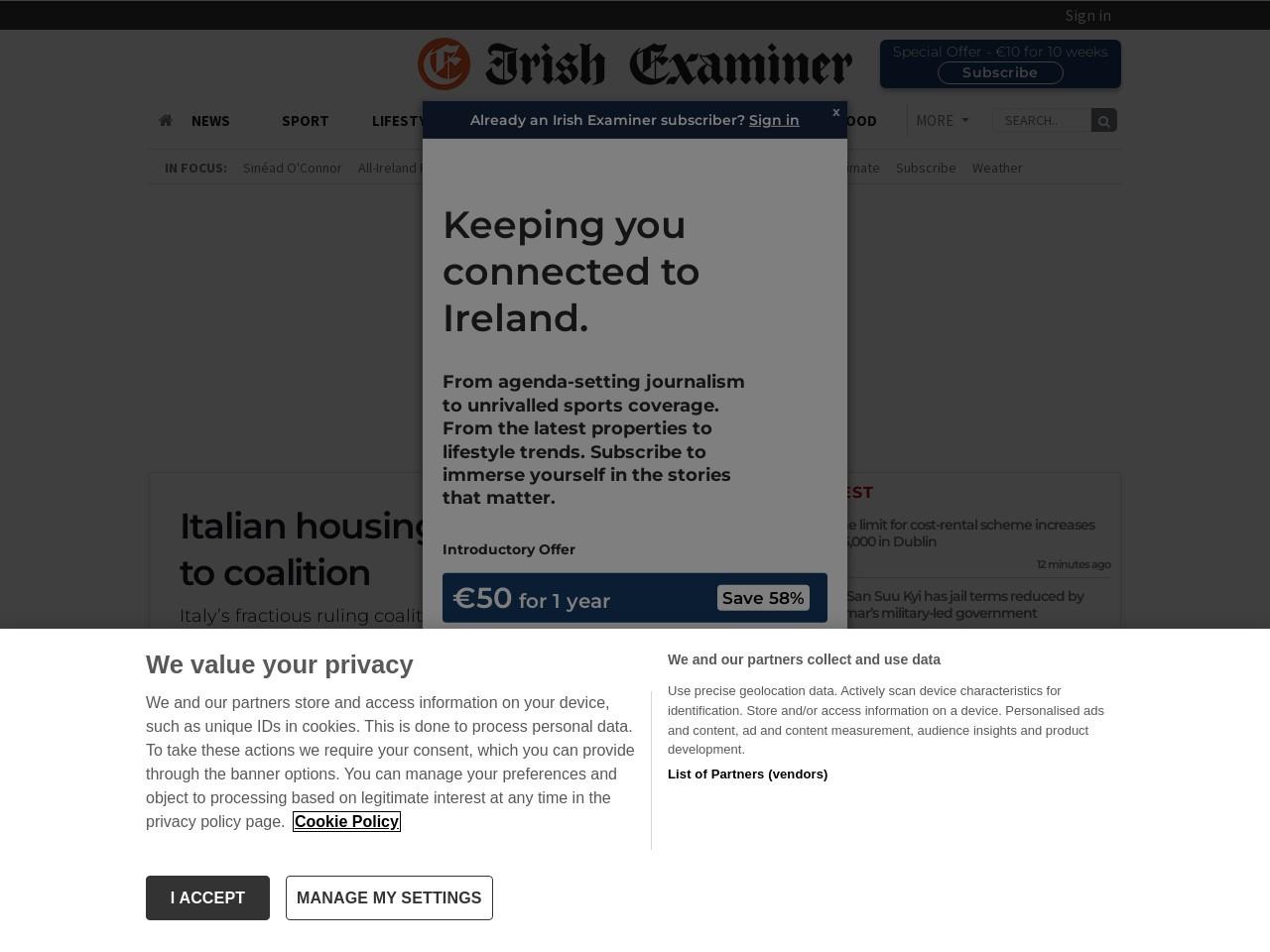 Italian housing tax fresh threat to coalition