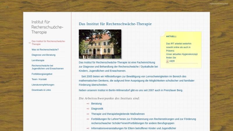 www.irtberlin.de Vorschau, Institut für Rechenschwäche-Therapie Berlin