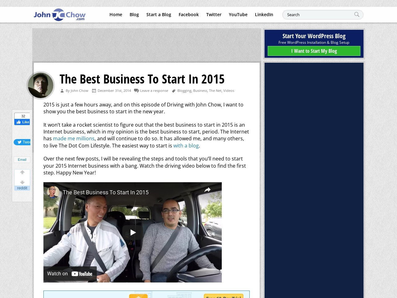 The Best Business To Start In 2015 – John Chow