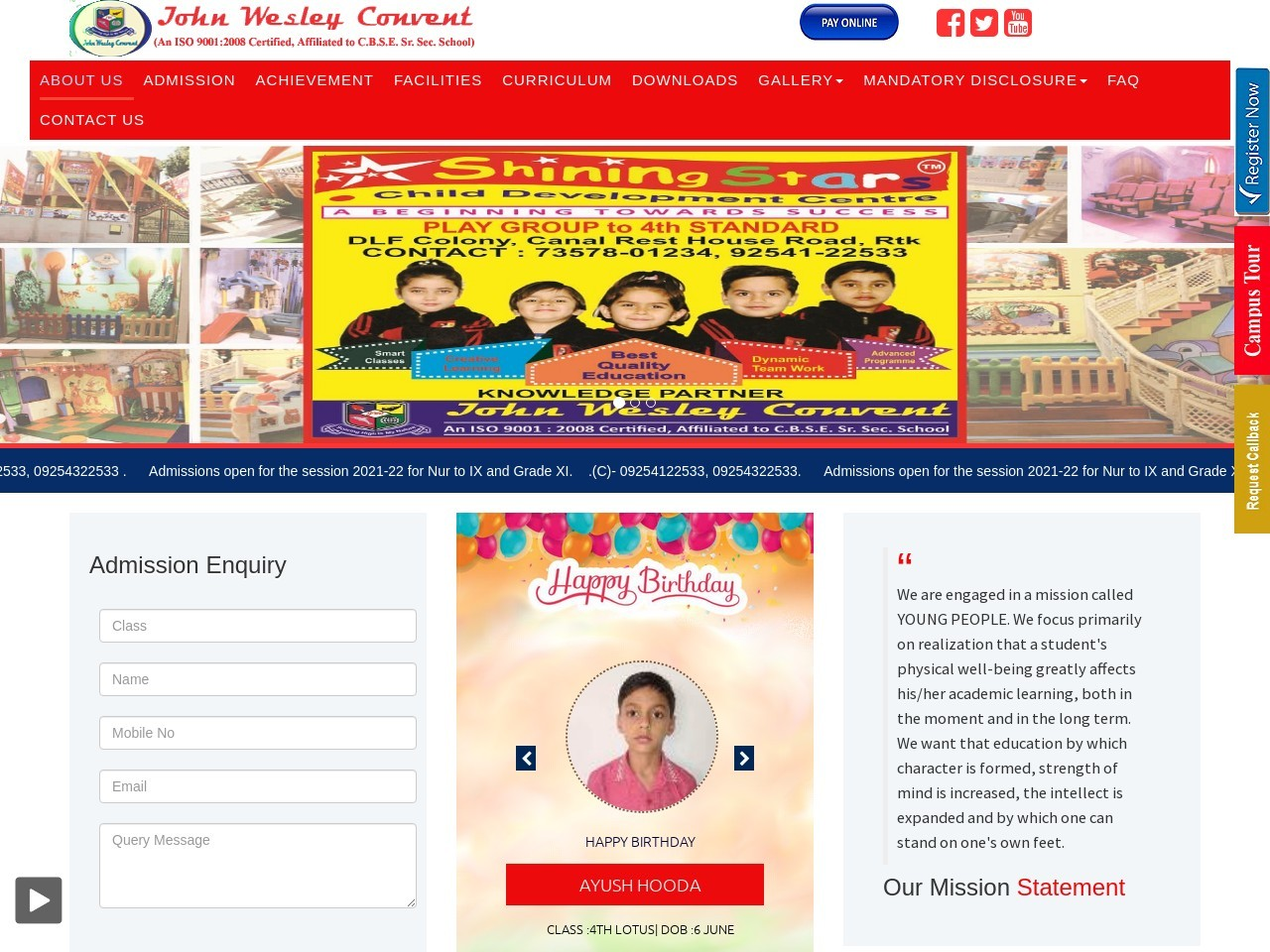 Top 10 School in Rohtak, Haryana, Best English medium – johnwesleyconvent.com