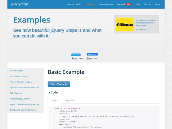 http://www.jquery-steps.com/Examples