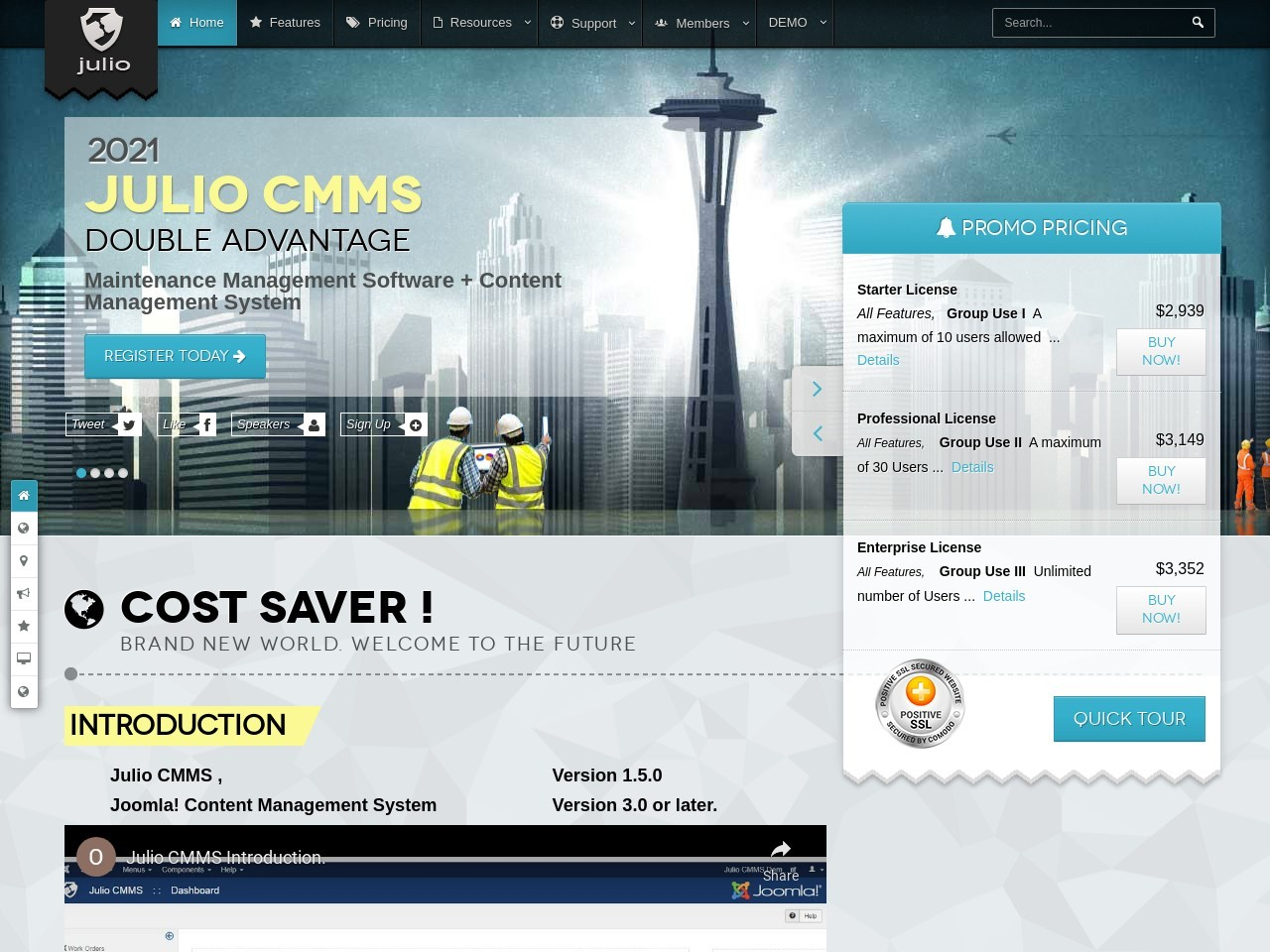 Julio CMMS for Joomla – Enterprise License (Upgraded from Professional) Coupon 15%