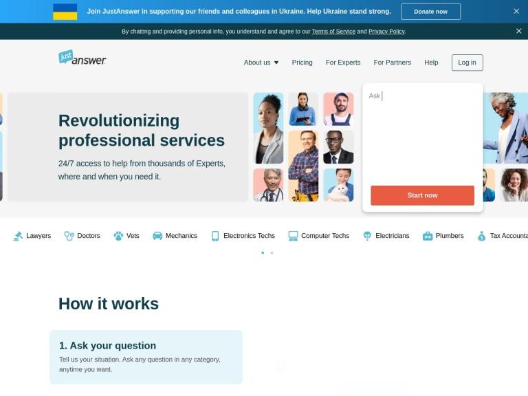 JustAnswers.com screenshot
