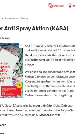 Vorschau der mobilen Webseite www.kasa-koeln.de, KASA - Kölner Anti Spray Aktion
