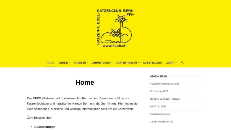 www.kecb.ch Vorschau, Katzen- und Edelkatzenclub Bern