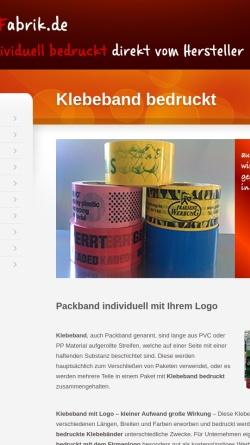 Vorschau der mobilen Webseite www.klebebanddruck.de, Klebebanddruck Warhus GbR