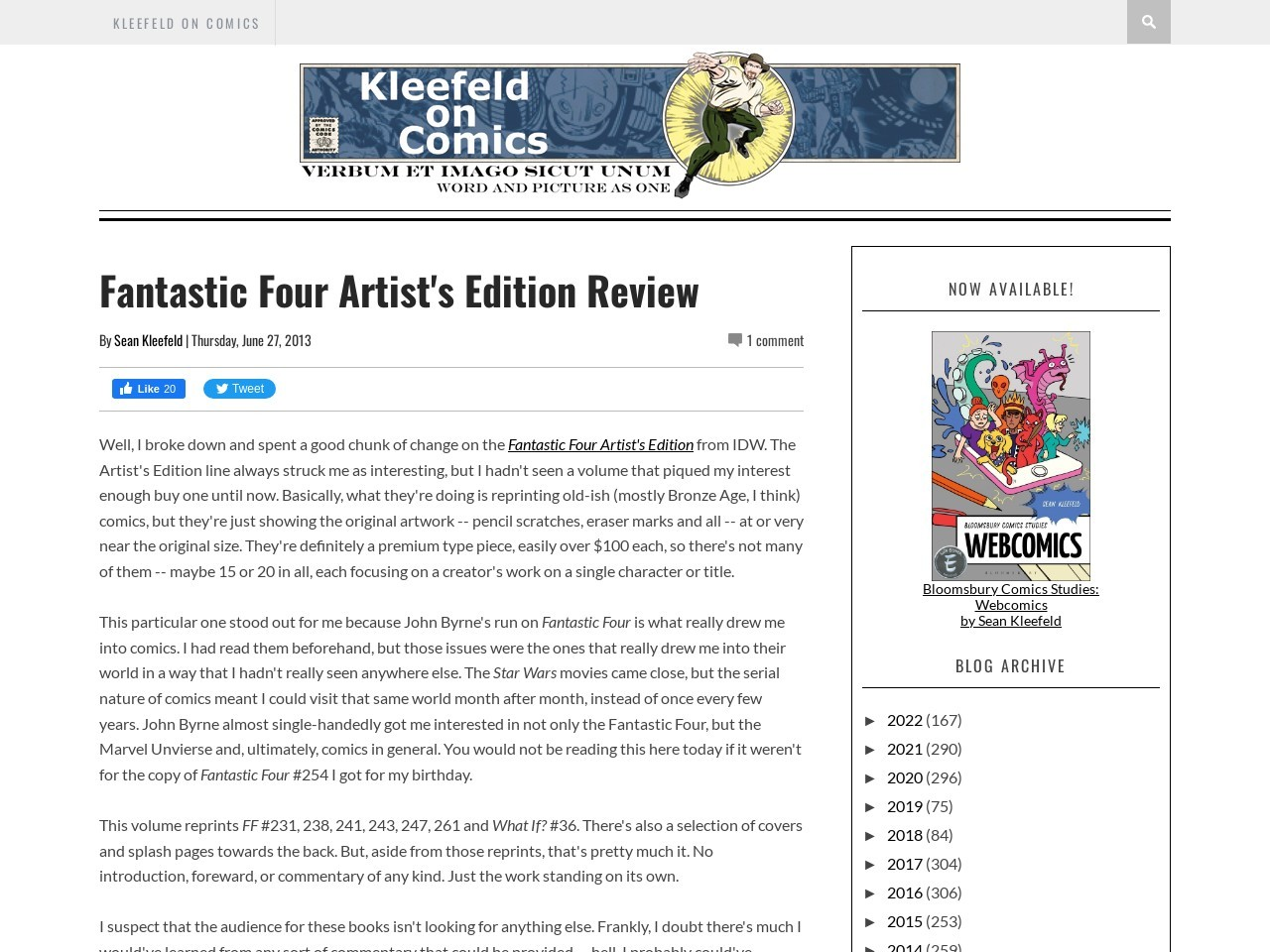 Kleefeld on Comics: Fantastic Four Artist's Edition Review