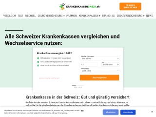 Screenshot der Website krankenkassenofferten.ch