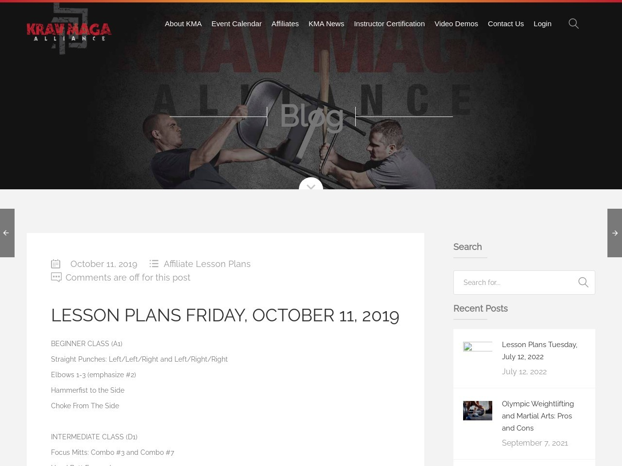 Lesson Plans Friday, October 11, 2019