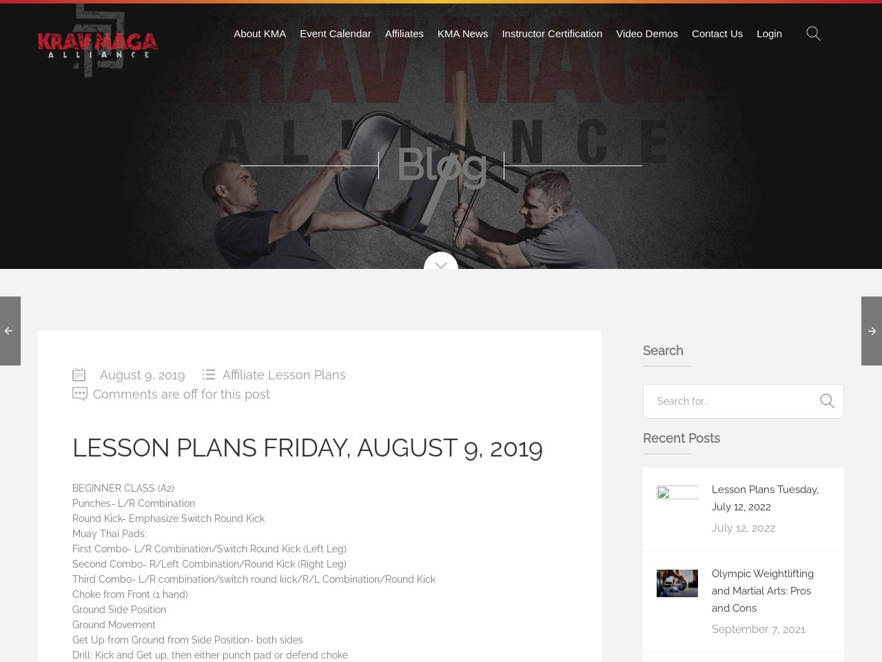 Lesson Plans Friday, August 9, 2019