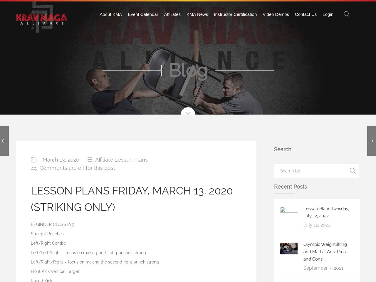 Lesson Plans Friday, March 13, 2020 (Striking Only)