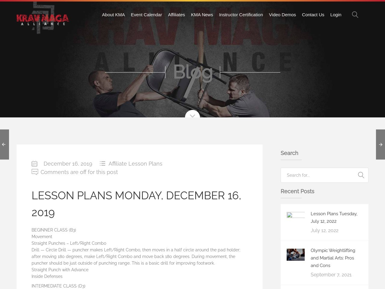Lesson Plans Monday, December 16, 2019