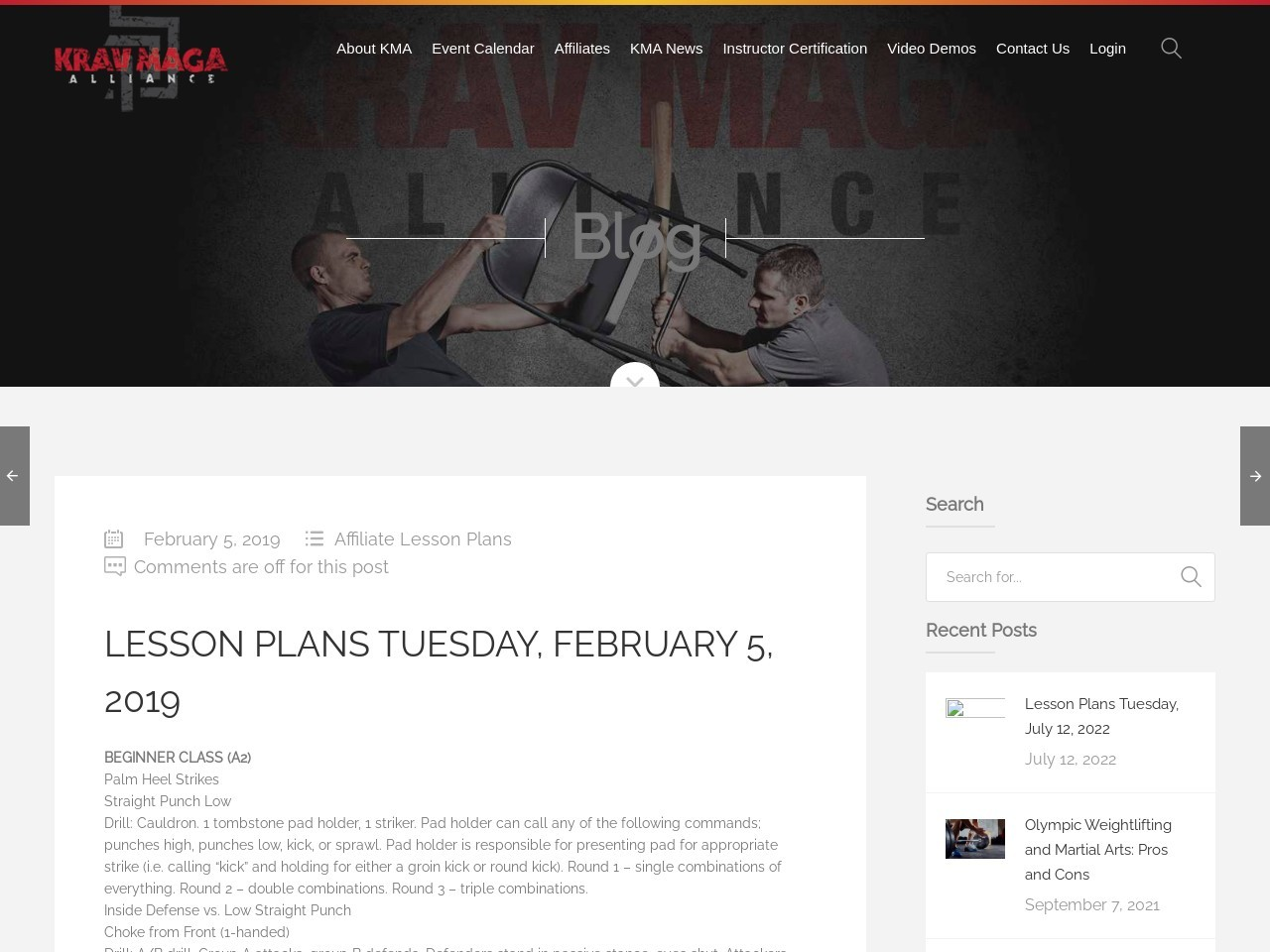 Lesson Plans Tuesday, February 5, 2019