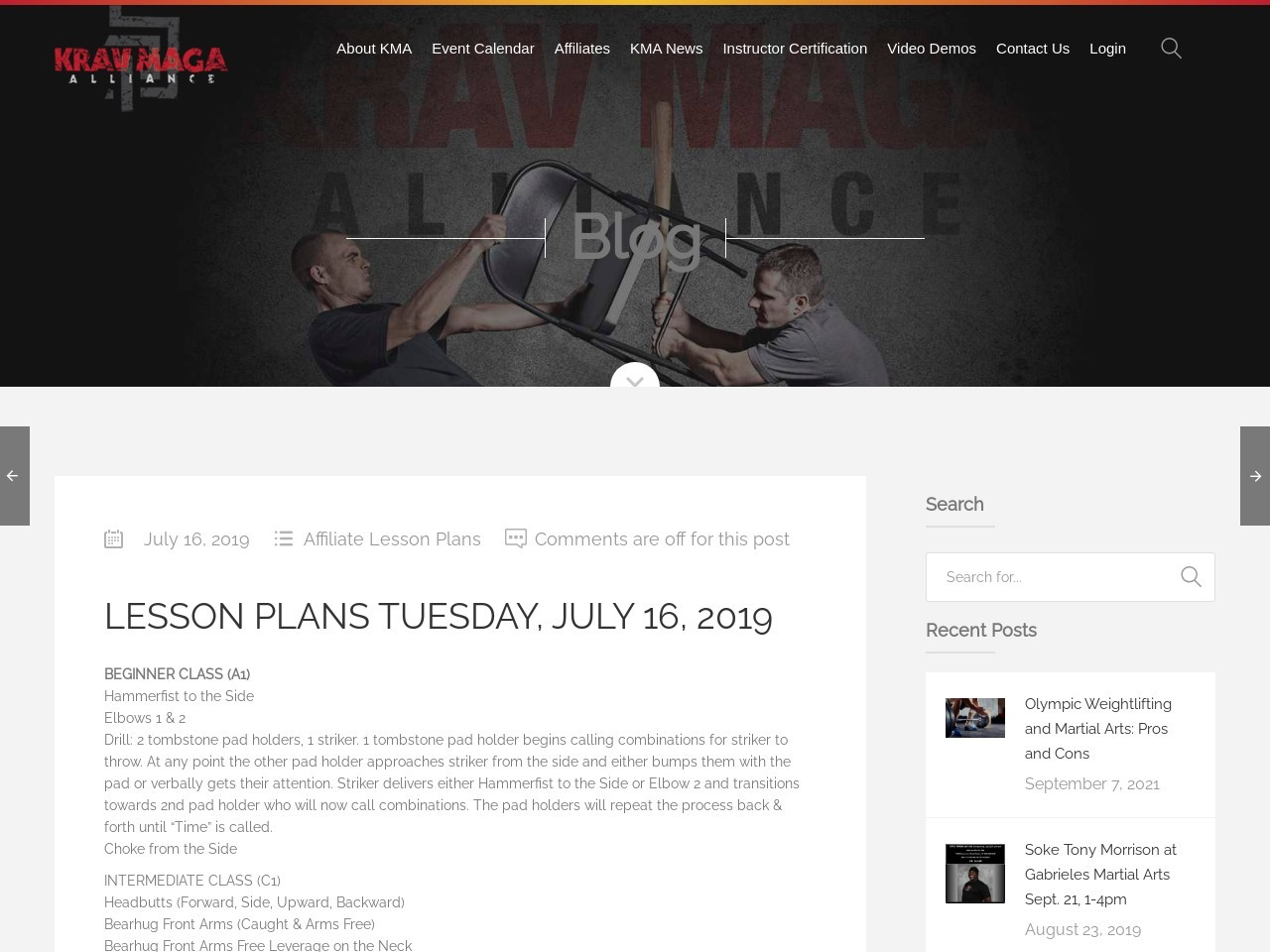 Lesson Plans Tuesday, July 16, 2019