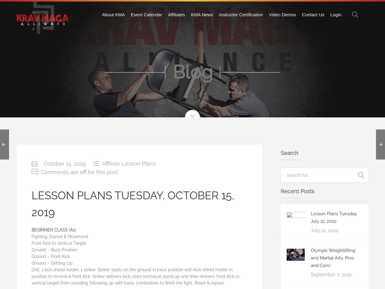Lesson Plans Tuesday, October 15, 2019