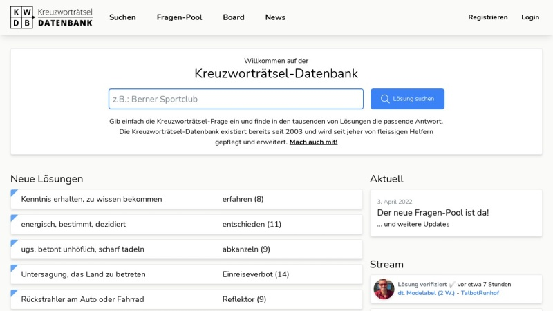 www.kwdb.ch Vorschau, KWDB.ch - Kreuzworträtsel Datenbank