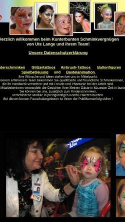 Vorschau der mobilen Webseite www.lange-ute.de, lange-ute.de - Kunterbuntes Schminkvergnügen