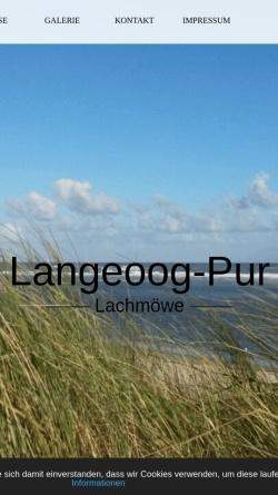 Vorschau der mobilen Webseite www.langeoog-pur.de, Langeoog Pur - Fewo Lachmöwe