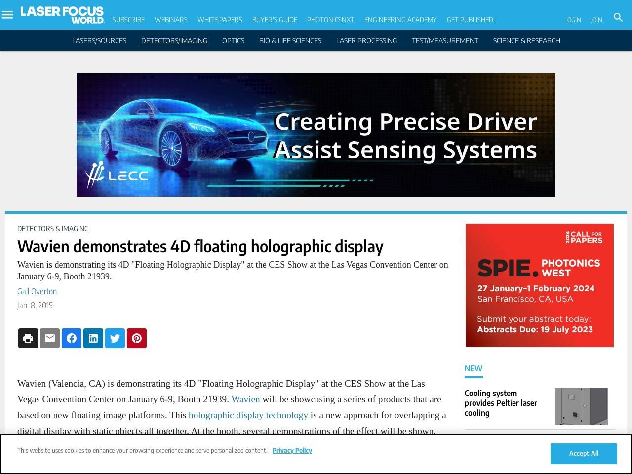 Wavien demonstrates 4D floating holographic display