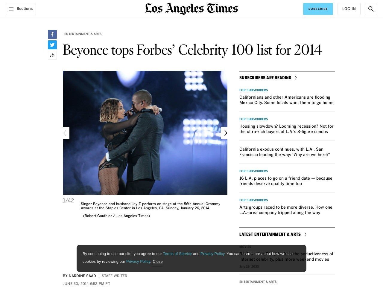 Beyonce tops Forbes' Celebrity 100 list for 2014