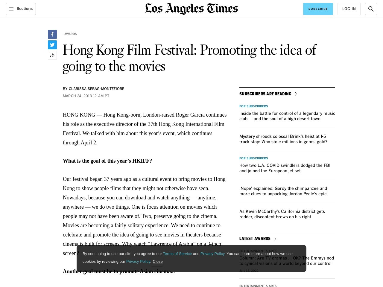 Hong Kong Film Festival: Promoting the idea of going to the movies