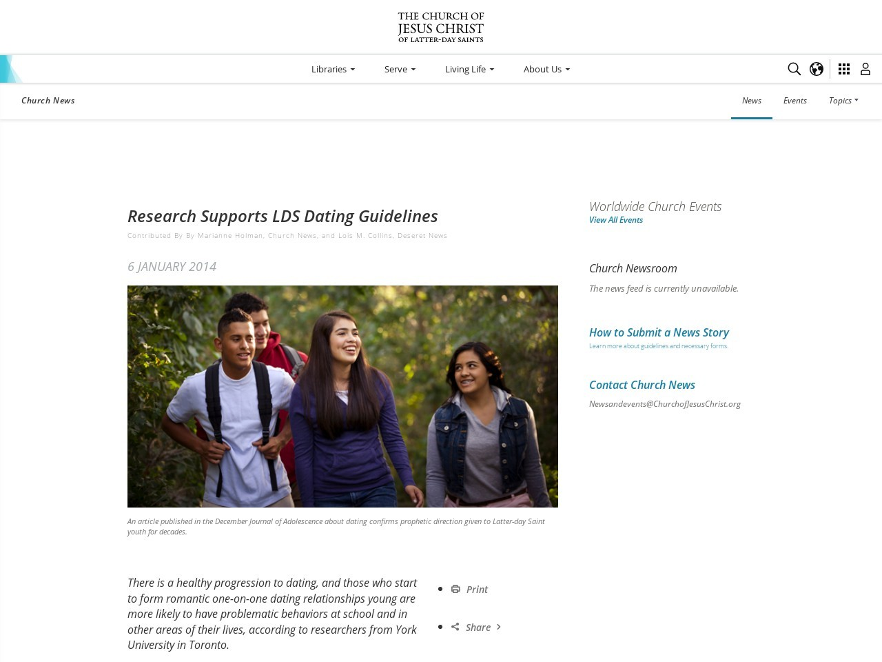 Research Supports LDS Dating Guidelines – Church News and Events