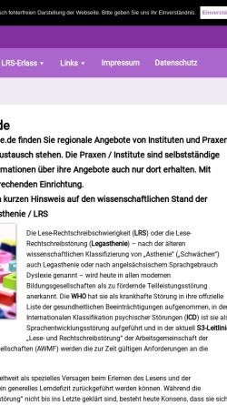 Vorschau der mobilen Webseite www.legasthenie-therapie.de, Legasthenie-Therapie durch Fachinstitute (ILT)