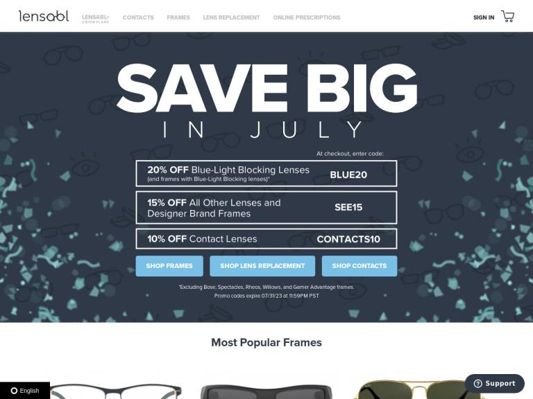 Lensabl - The Online Optometrist screenshot
