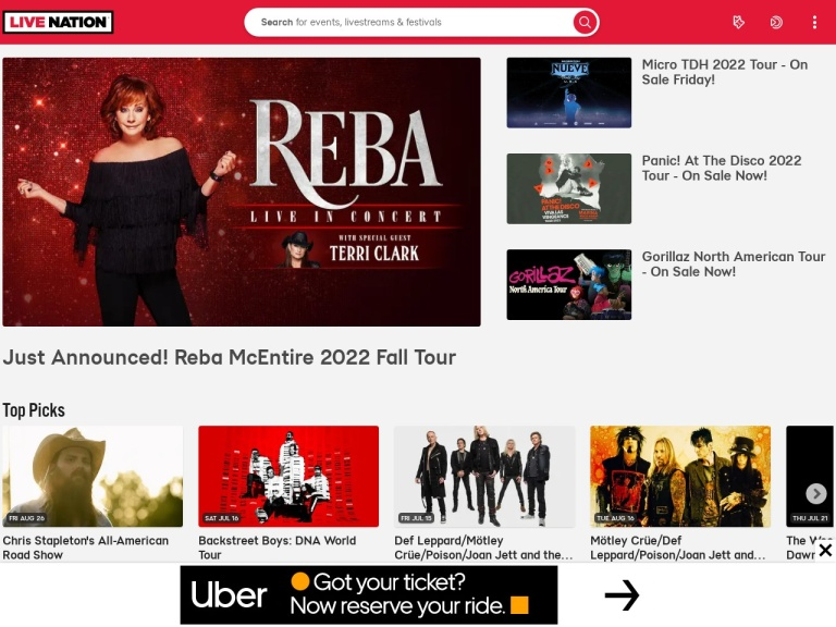 Live Nation Merchandise Affiliate Program screenshot