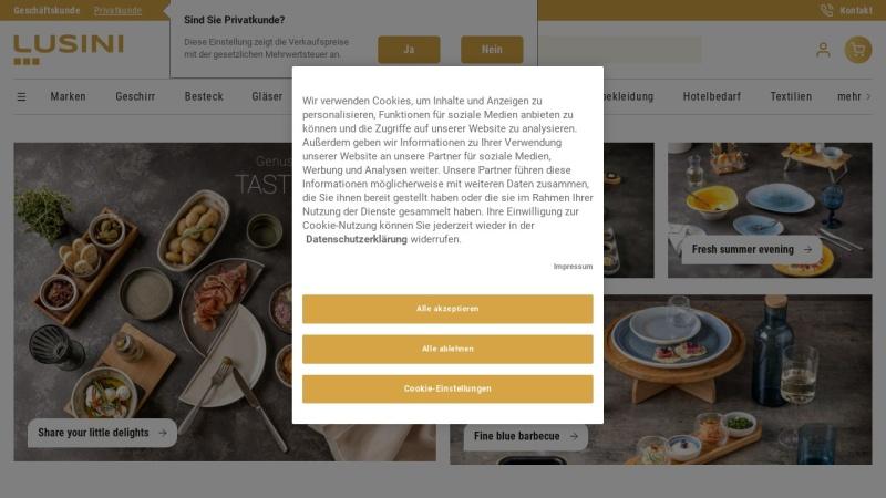 www.lusini.de Vorschau, Der B2B-Marktplatz im Internet für Hotellerie- und Gastronomiebedarf