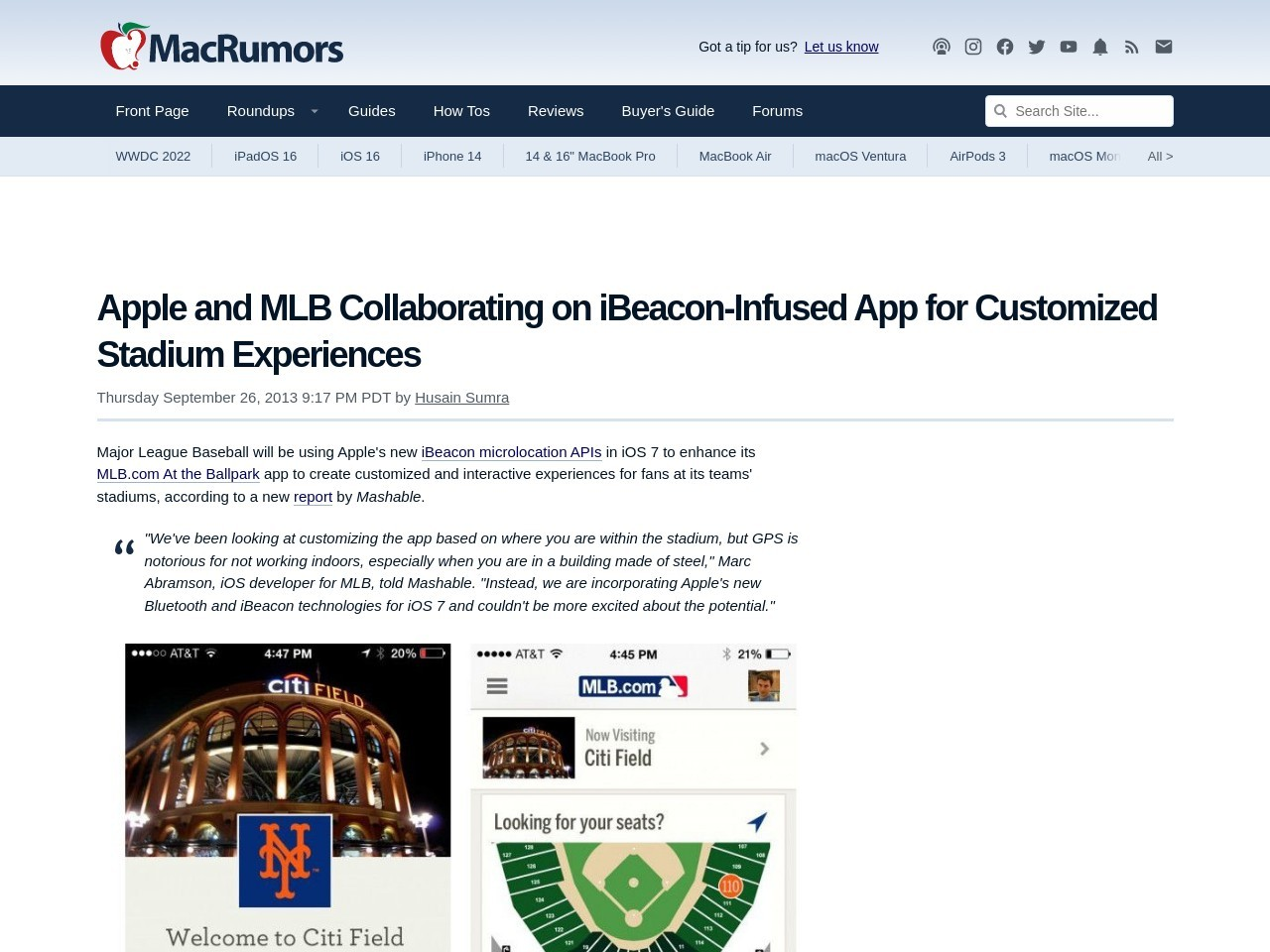 Apple and MLB Collaborating on iBeacon-Infused App for …