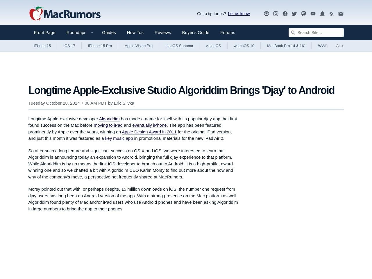 Longtime Apple-Exclusive Studio Algoriddim Brings 'Djay' to …